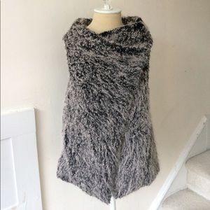 Zara Basic Black Mongolian Faux Fur Vest EUC